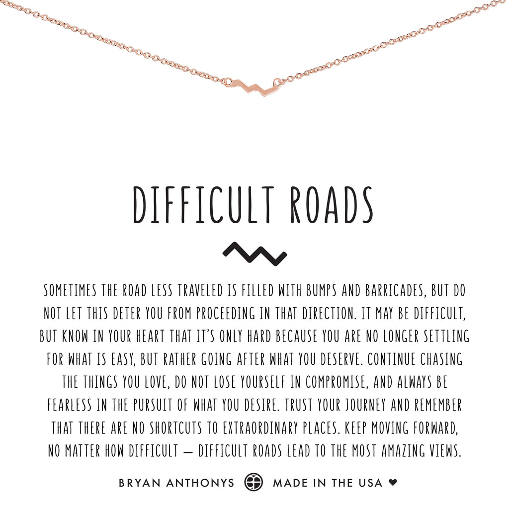 Bryan Anthonys dainty difficult roads zig zag necklace rose gold