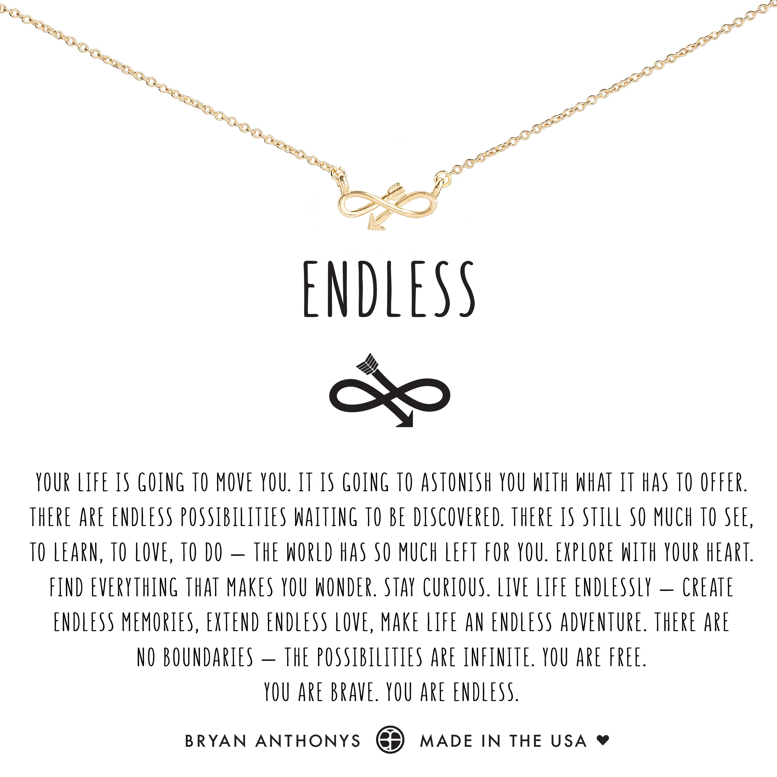af76cd72e Bryan Anthonys dainty infinity endless arrow necklace 14k gold