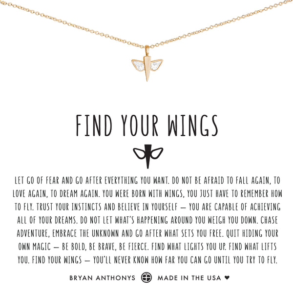 Bryan Anthonys dainty find your wings necklace 14k gold