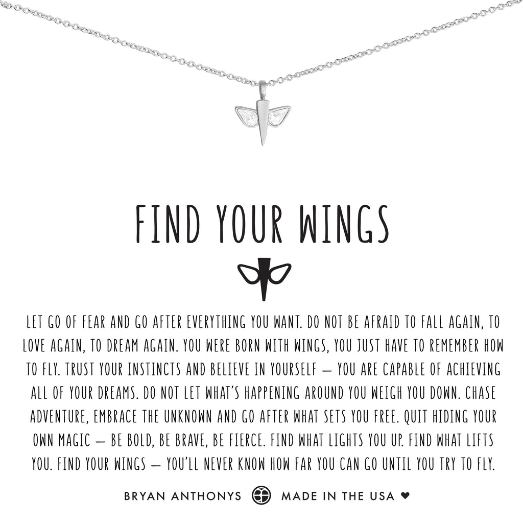 Bryan Anthonys dainty find your wings necklace silver