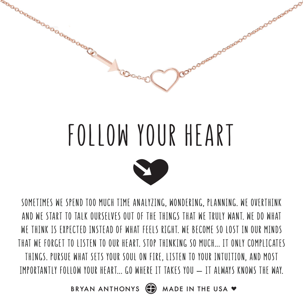 Bryan Anthonys dainty follow your heart necklace rose gold