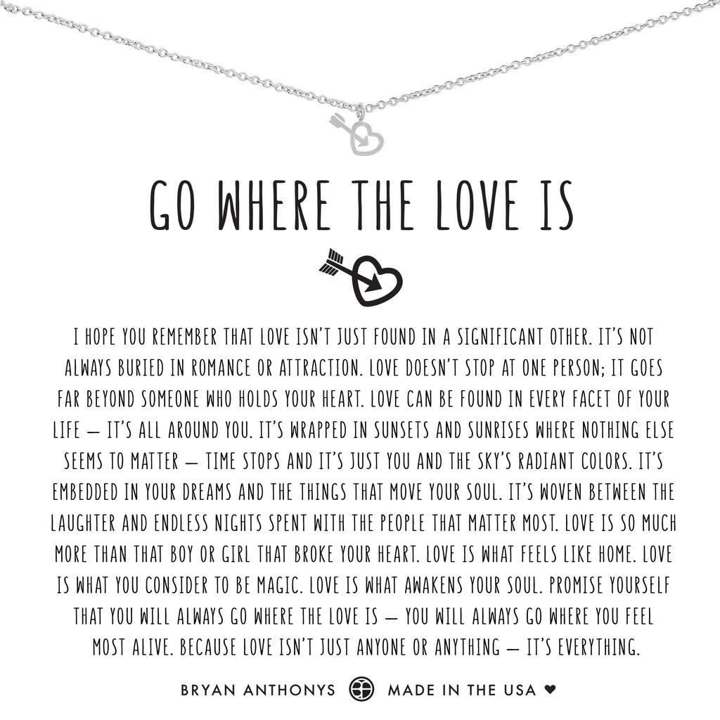 Bryan Anthonys dainty go where the love is necklace silver
