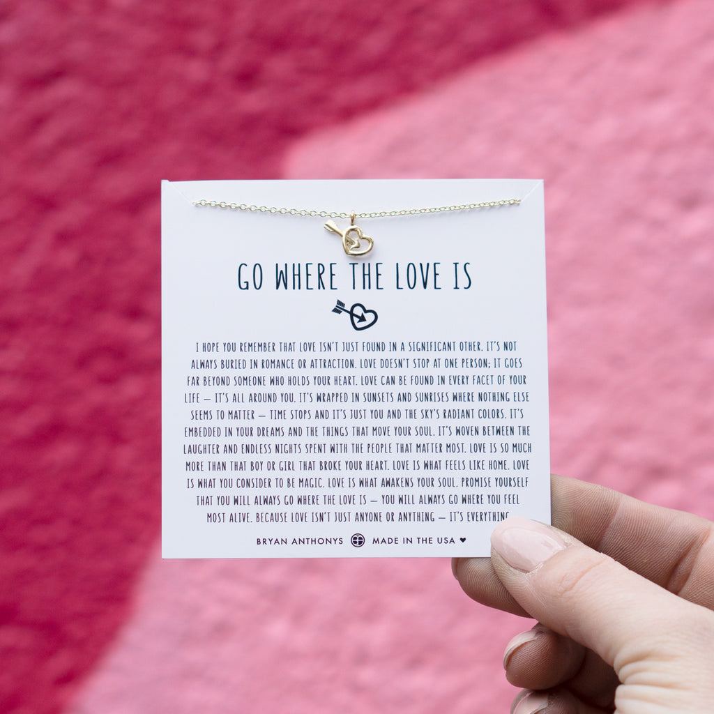 go where the love is necklace 14k gold on jewelry card