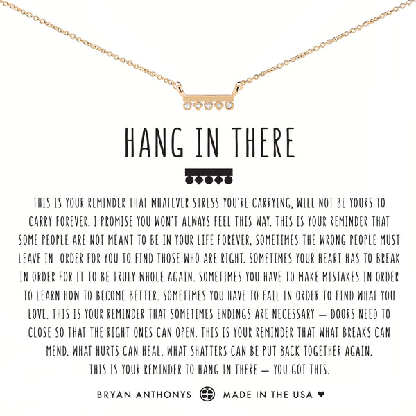 Bryan Anthonys dainty hang in there necklace 14k gold