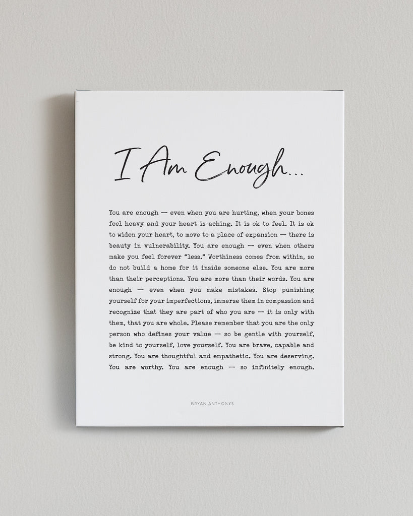 bryan anthonys i am enough canvas print wall art home decor front view