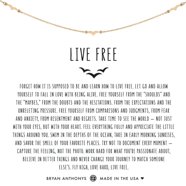 Bryan Anthonys Dainty Live Free Necklace 14k Gold
