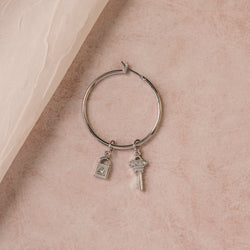 midi base earring hoops with promise earring charm and you hold the key earring charm silver