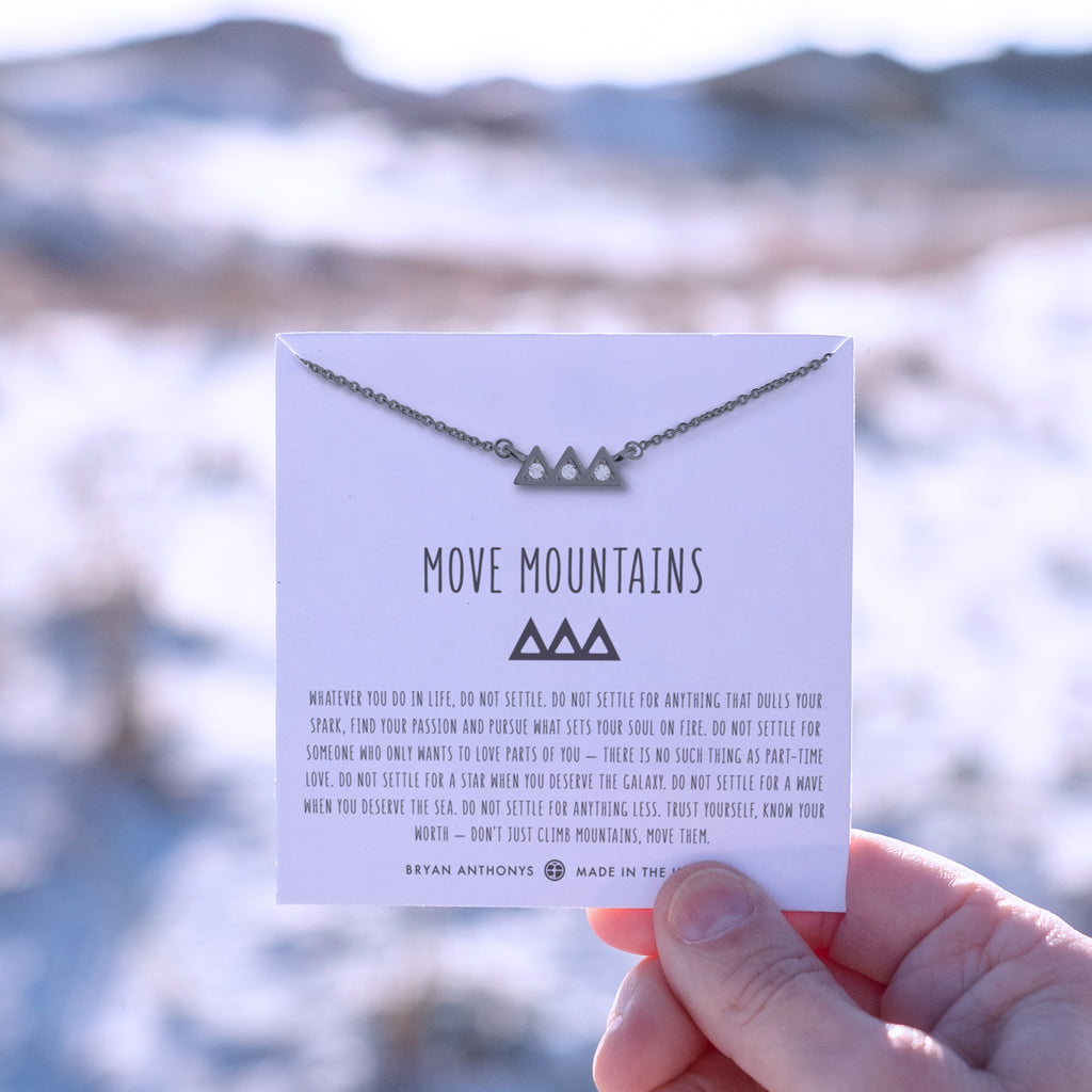 move mountains gunmetal on jewelry card
