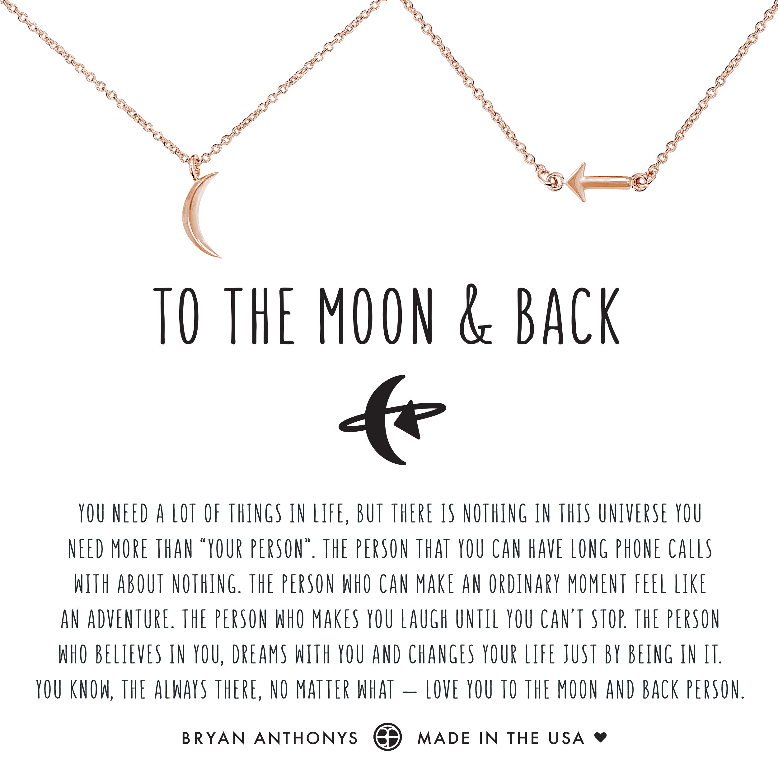 71e282f7605e Bryan Anthonys dainty to the moon and back necklace set rose gold