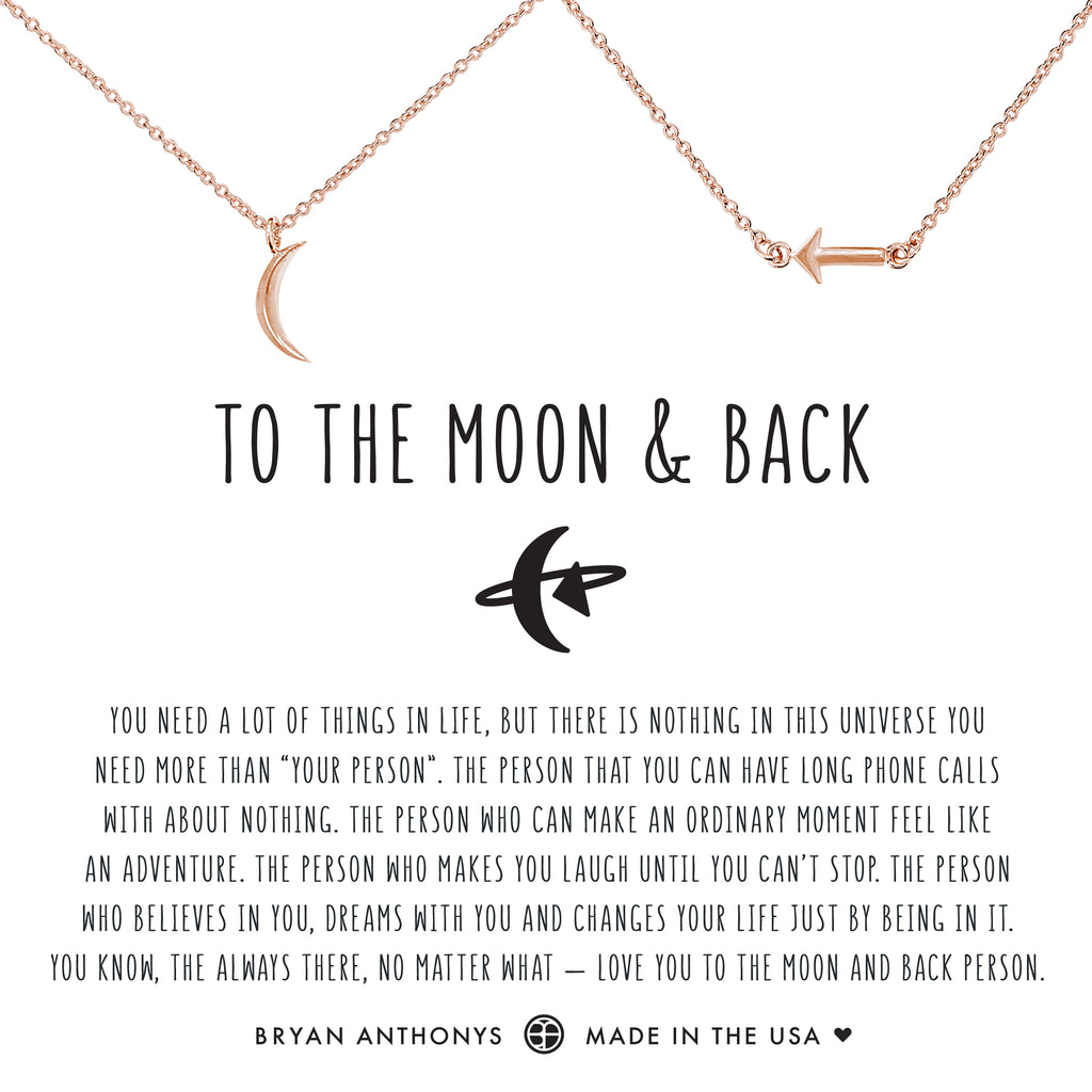 Bryan Anthonys dainty to the moon and back necklace set rose gold