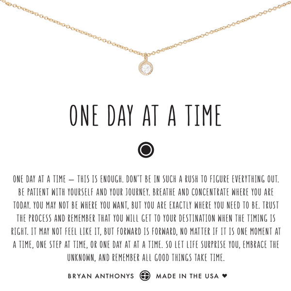 Bryan Anthonys dainty one day at a time necklace 14k gold