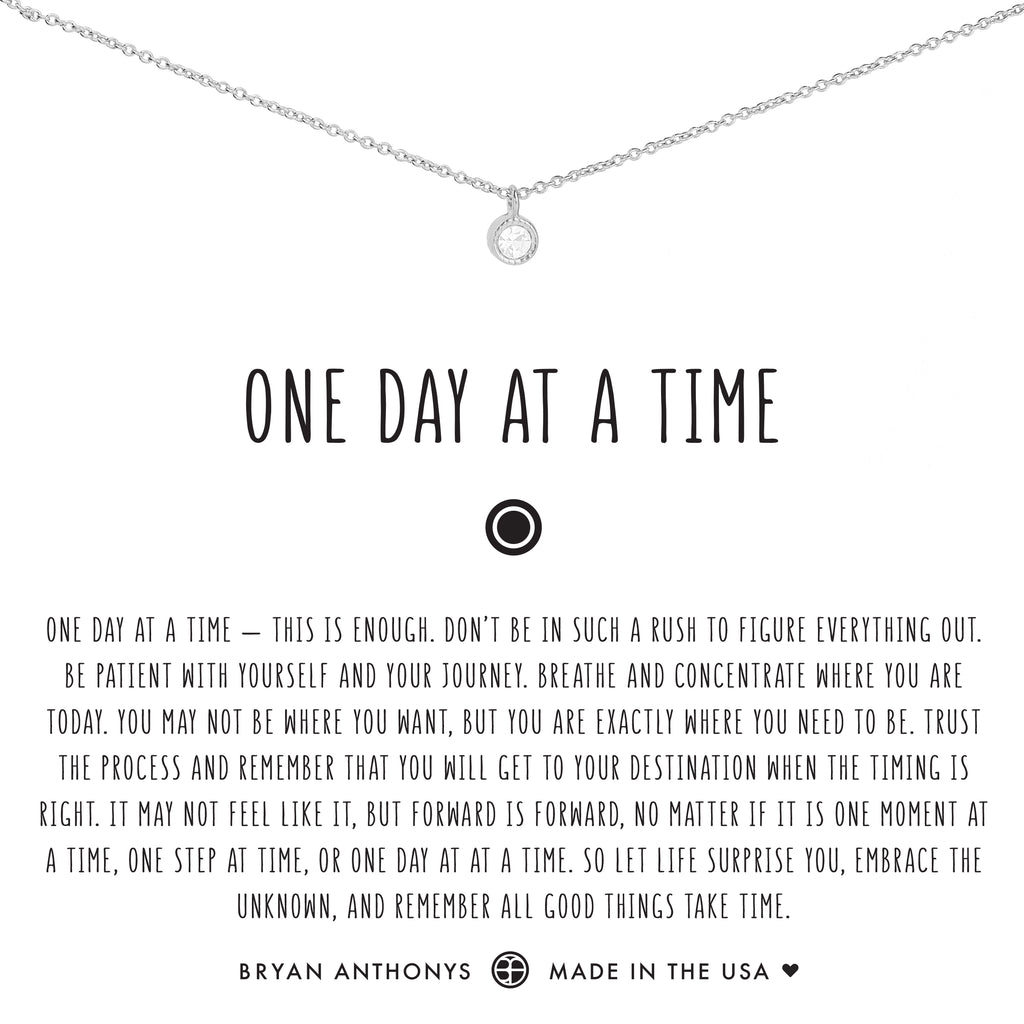Bryan Anthonys dainty one day at a time necklace silver