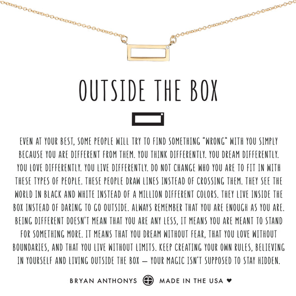 Bryan Anthonys dainty outside the box necklace 14k gold