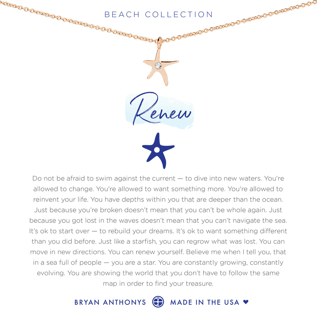 bryan anthonys dainty renew starfish necklace rose gold