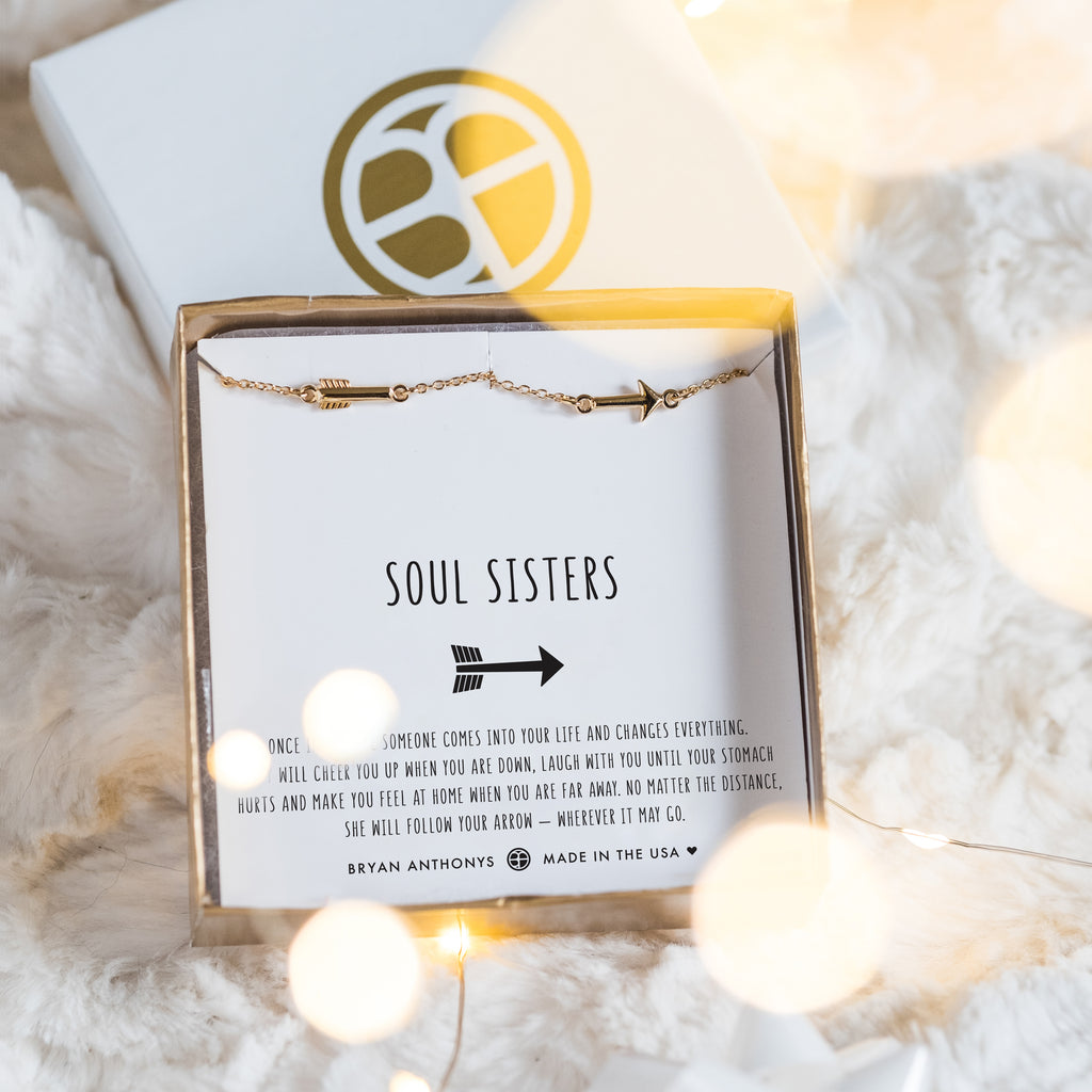 soul sisters best friend arrow anklets in jewelry box on card