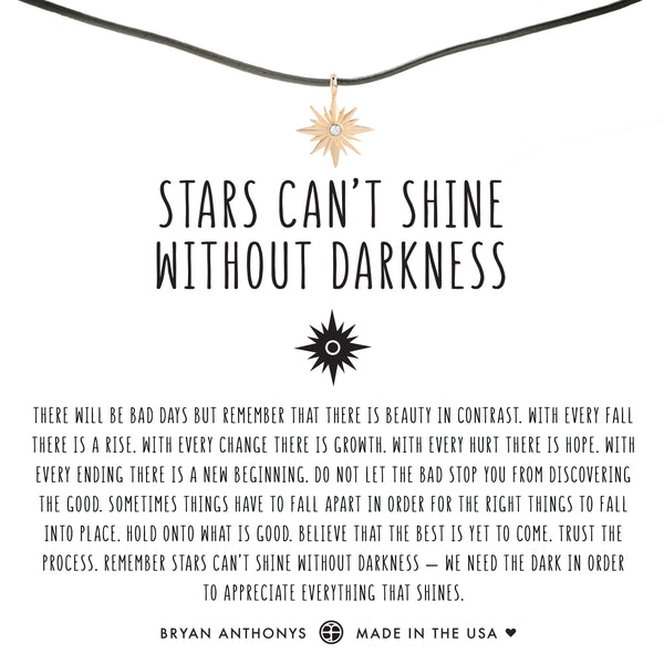 bryan anthonys dainty stars can't shine without darkness leather choker 14k gold