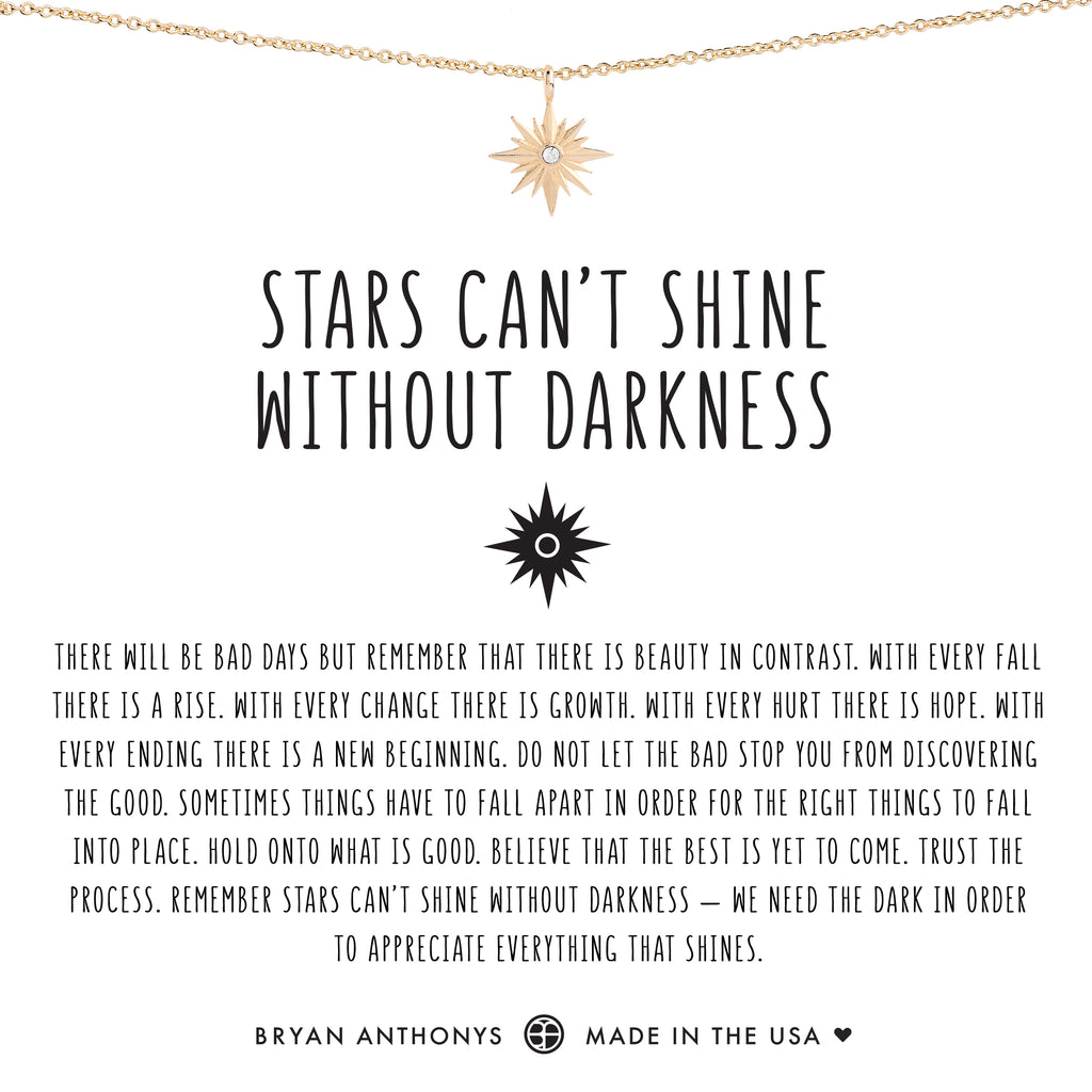 Bryan Anthonys dainty stars cant shine without darkness necklace 14k gold
