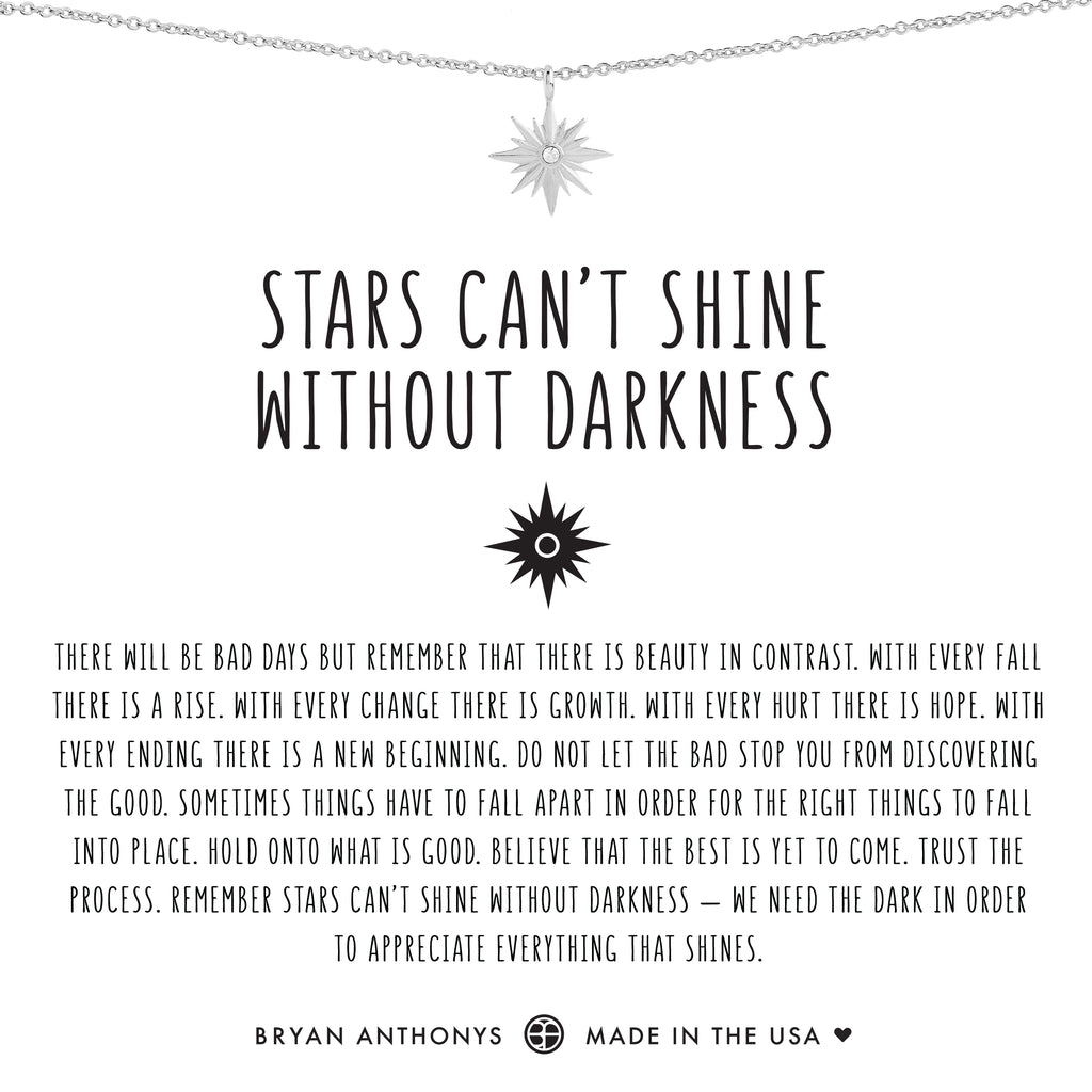 Bryan Anthonys dainty stars cant shine without darkness necklace silver