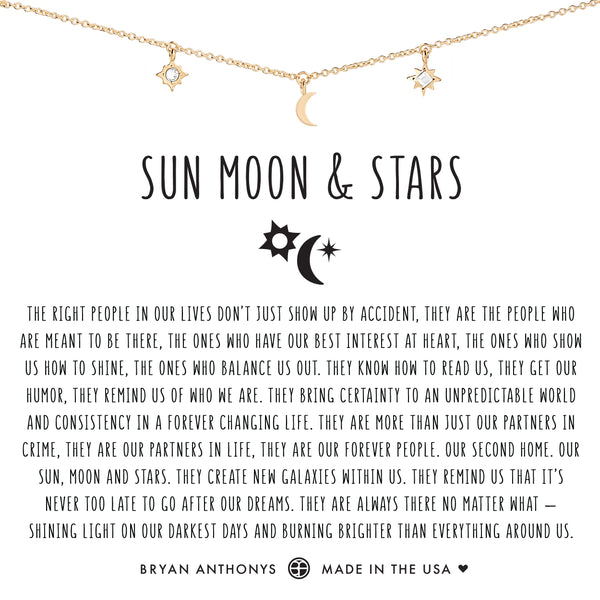 Bryan Anthonys dainty sun moon and stars necklace 14k gold