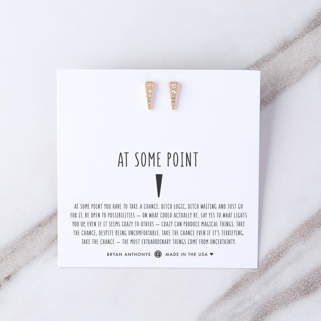 at some point earring on jewelry card