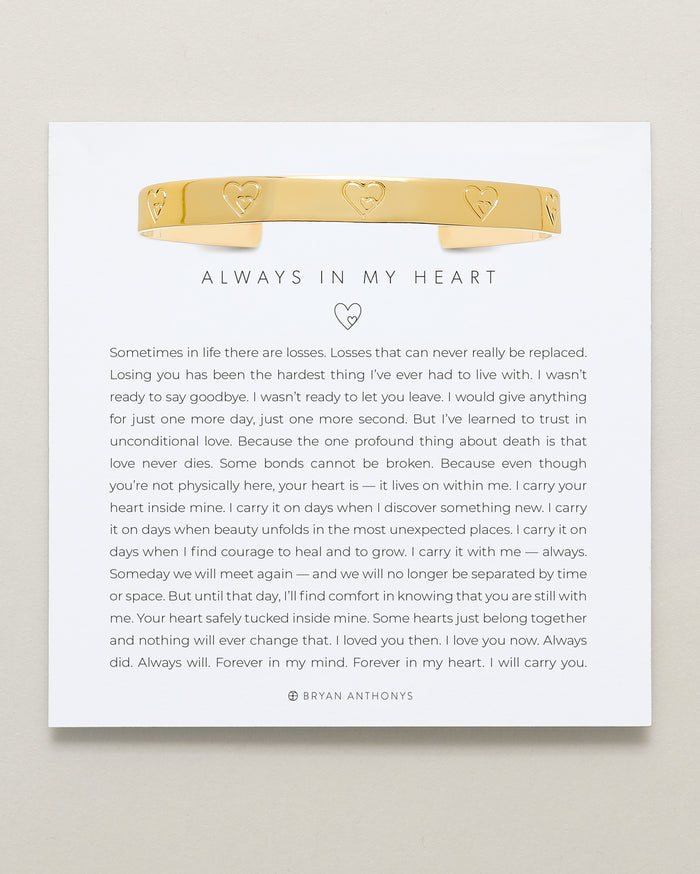 Bryan Anthonys Always In My Heart Gold Engraved Cuff On Card