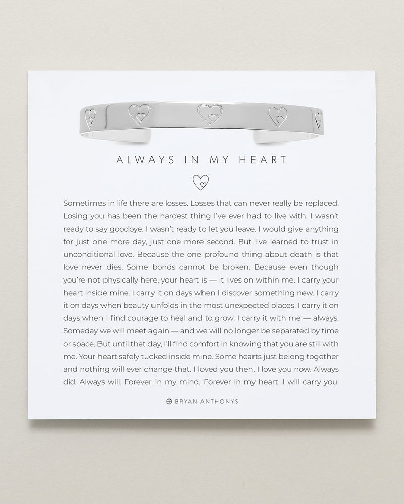 Always In My Heart Engraved Cuff
