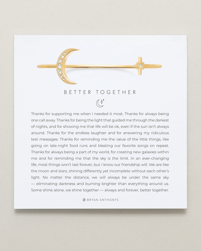Bryan Anthonys Better Together Gold Cuff with Crystals On Card