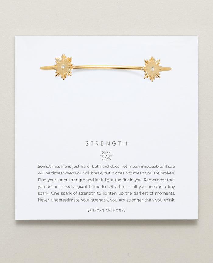 Bryan Anthonys Strength Gold Cuff with Crystals On Card