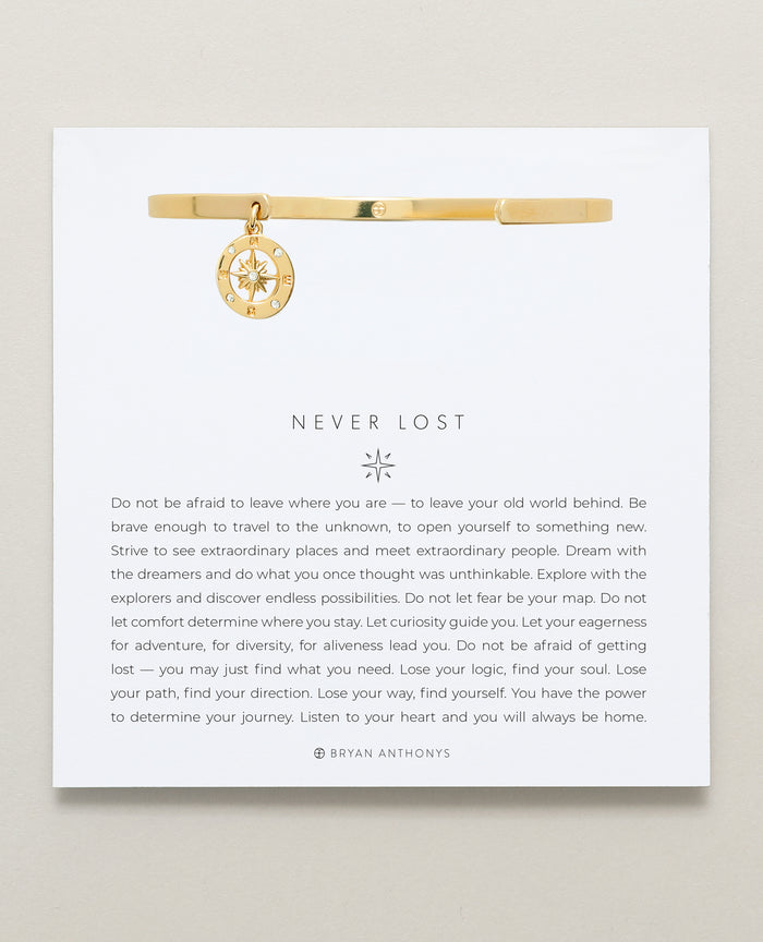 Bryan Anthonys Never Lost Compass Charm Cuff Gold On Card