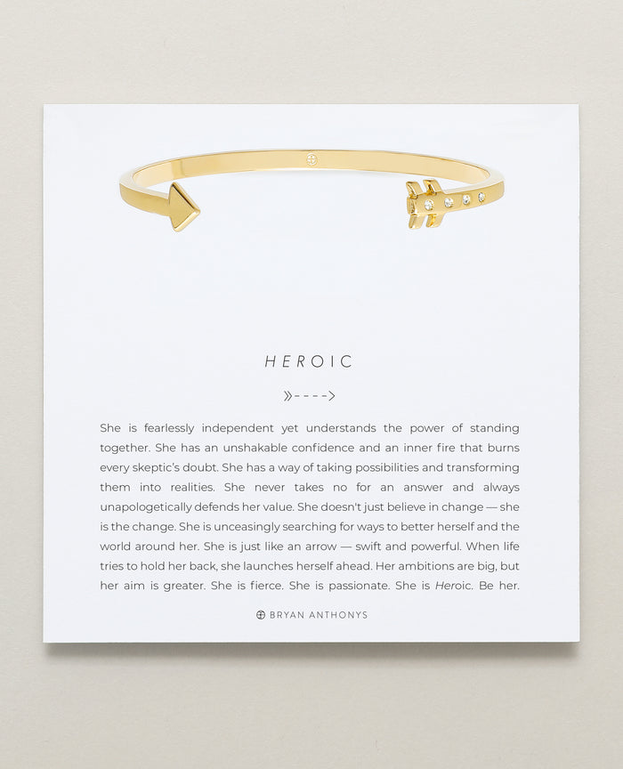 Bryan Anthonys Heroic Gold Arrow Bracelet with Crystals On Card