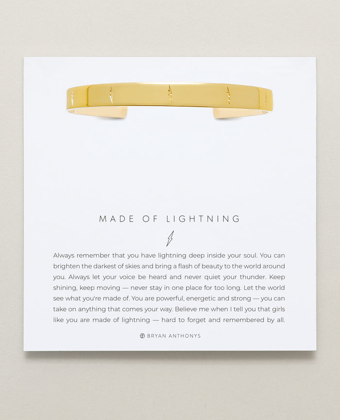 Bryan Anthonys Made of Lightning Gold Engraved Cuff On Card