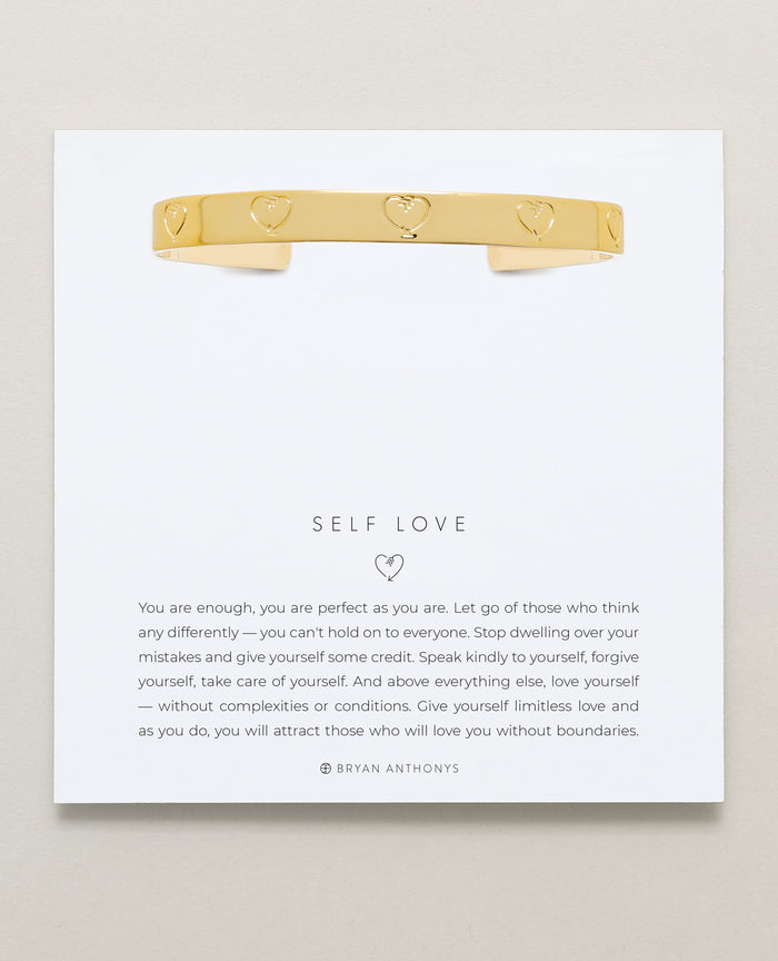Bryan Anthonys Self Love Gold Engraved Cuff On Card