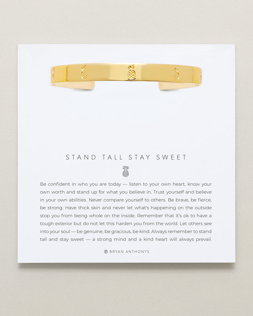Bryan Anthonys Stand Tall Stay Sweet Gold Engraved Cuff On Card