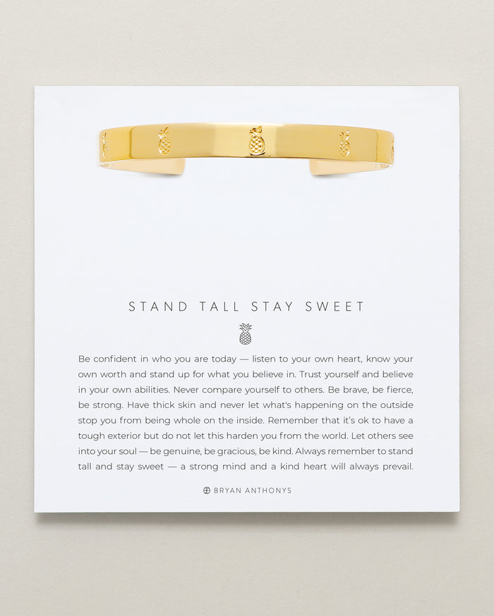 bryan anthonys stand tall stay sweet pineapple engraved cuff 14k gold