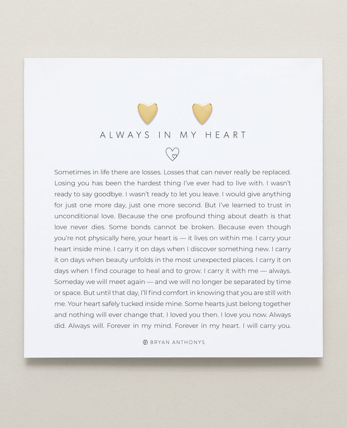 Bryan Anthonys Always In My Heart Gold Stud Earring On Card