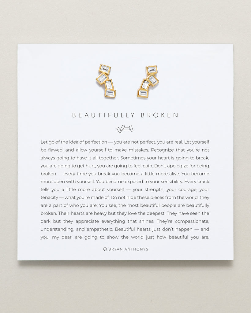 Bryan Anthonys Beautifully Broken Gold Earrings With Crystals On Card