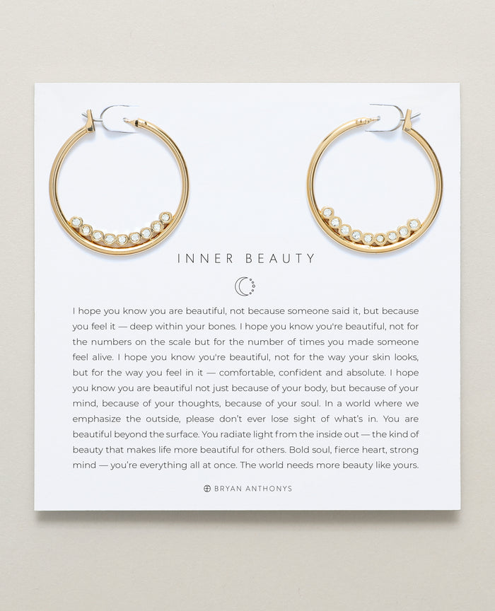 Bryan Anthonys Inner Beauty Gold Hoop Earrings With Crystals On Card