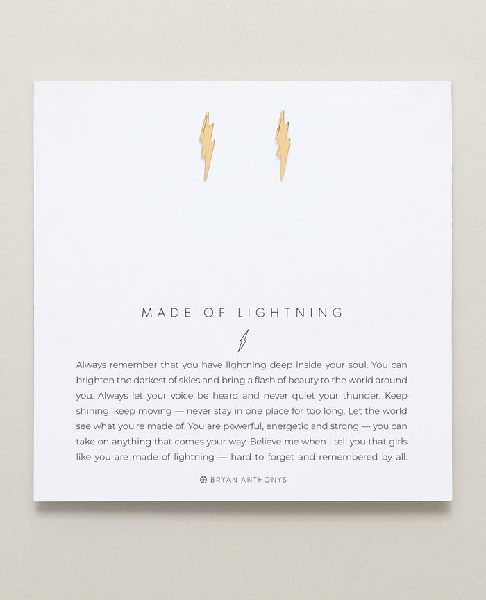 Bryan Anthonys Made Of Lightning Gold Earrings On Card
