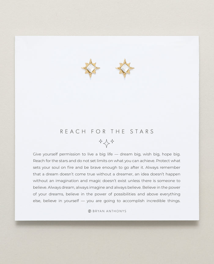 Bryan Anthonys Reach For The Stars Gold Earrings With Crystals On Card