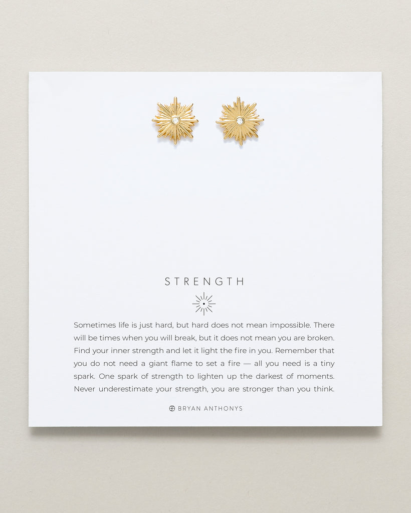 Bryan Anthonys dainty strength starburst earrings 14k gold