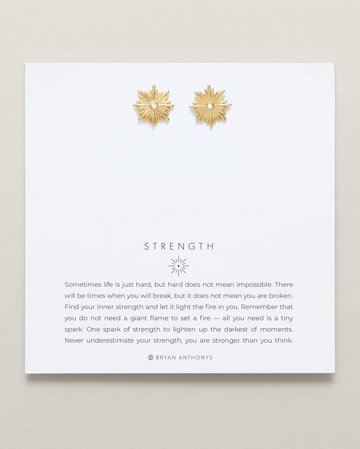 Bryan Anthonys Strength Gold Earrings With Crystals On Card
