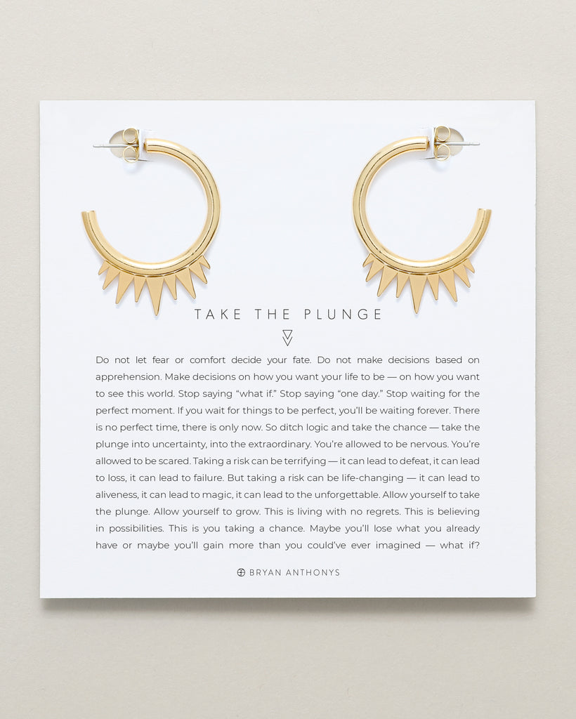 Bryan Anthonys Take The Plunge Gold Hoop Earrings On Card