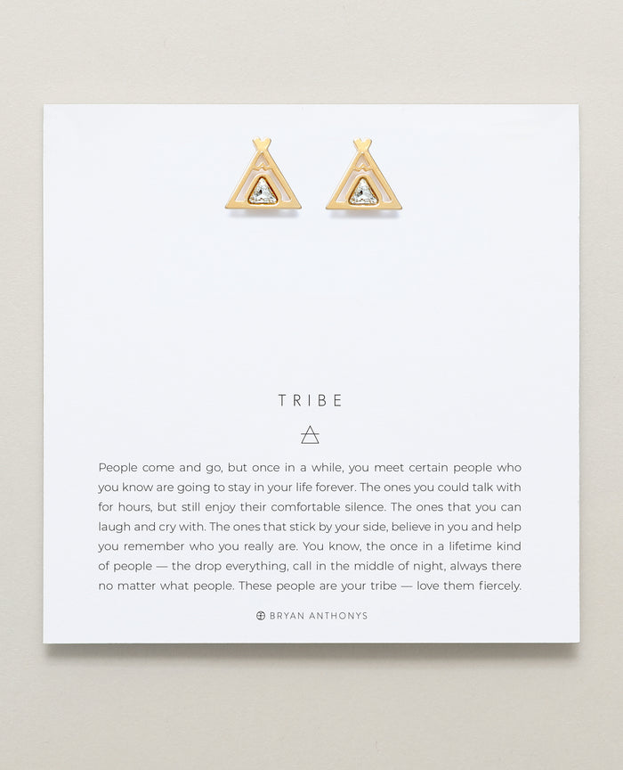 Bryan Anthonys Tribe Gold Earrings With Crystals On Card