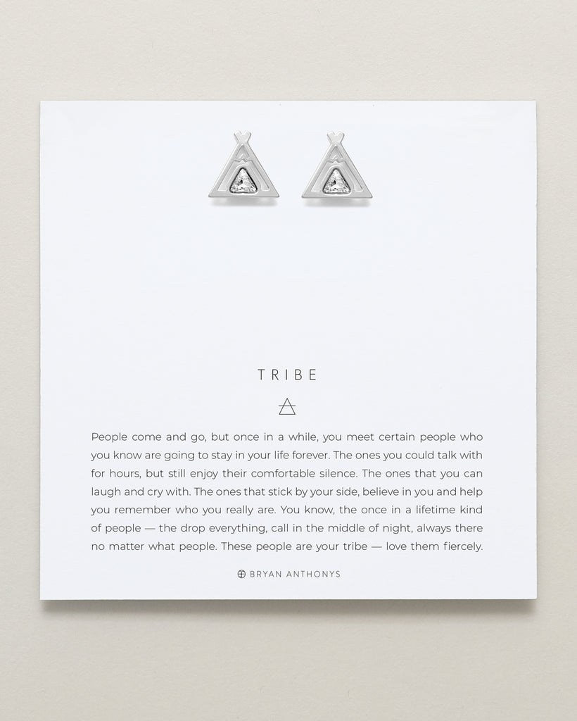 Bryan Anthonys dainty Tribe teepee friendship earrings silver