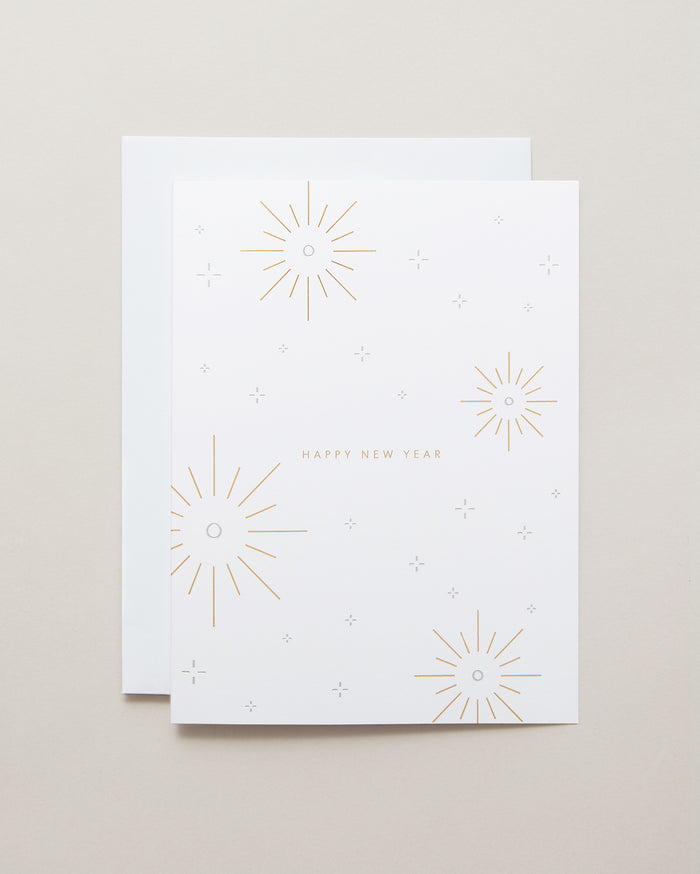 Bryan Anthons Happy New Year Holiday Greeting Card Gold and Silver Foil