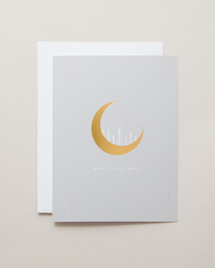 Bryan Anthonys Magic of the Holidays Greeting Card Gold and White Foil on Cool Gray