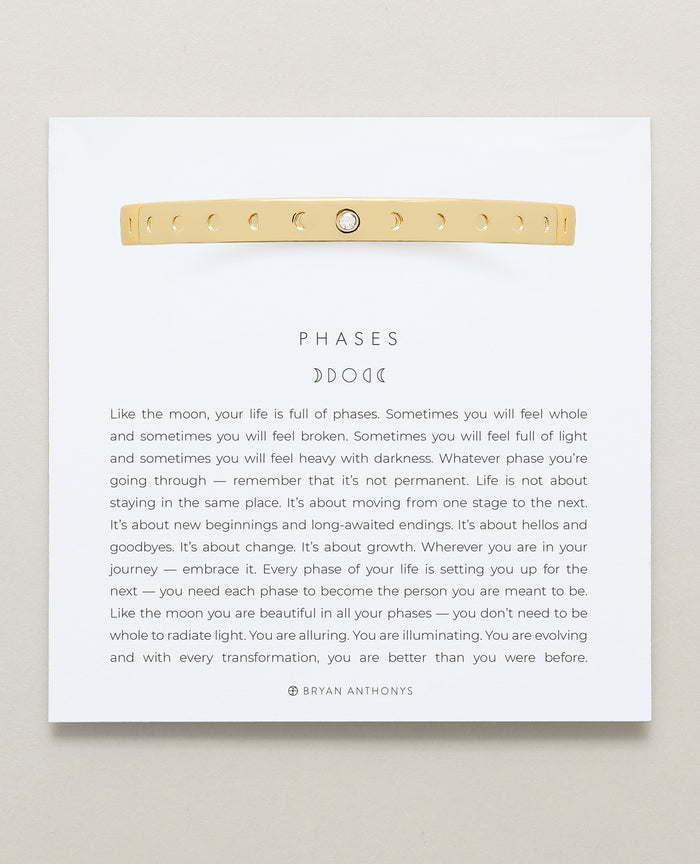 Bryan Anthonys Phases Gold Hinged Bracelet with crystal on card