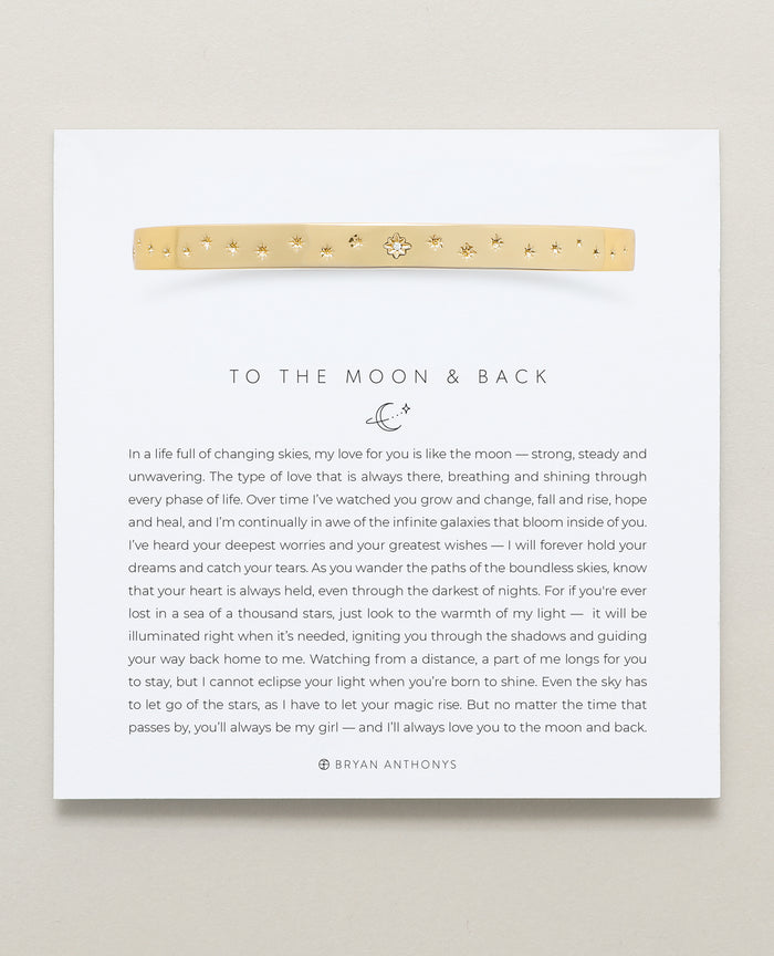Bryan Anthonys To The Moon And Back Gold Hinged Bracelet with Crystals On Card