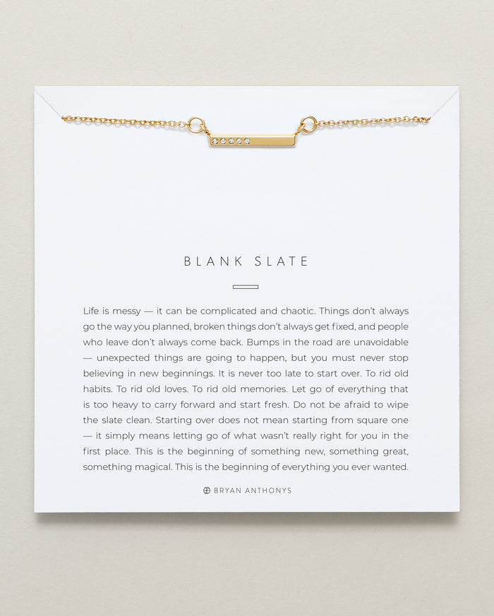 Bryan Anthonys dainty blank slate bar necklace 14k gold