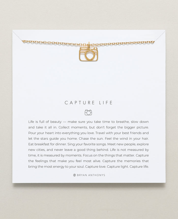 Bryan Anthonys dainty capture life camera necklace 14k gold